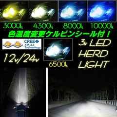 12V24V用/H4一体型LEDヘッドライト/Hi-Lo切替3000LM/色変更可能