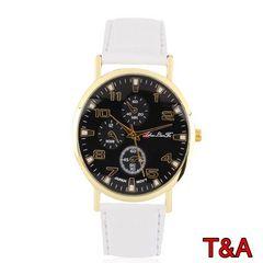 腕時計 時計 アナログ レザー 革ベルト 金フレーム ウォッチ 白