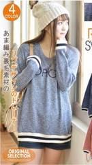 ゆるカワ☆ofalo♪4900円袖リブ&英字刺繍スウェット♪ロングトレーナー♪ネイビーF
