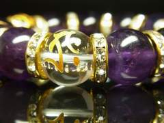 守護梵字水晶×アメジスト数珠ブレスレット 選べるオーダーメイド