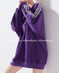 LL3L4L大きいサイズ/袖3ライン紫トレーナー