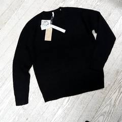 ○☆新品メンズ丸首セーターMサイズ黒ウネ編み