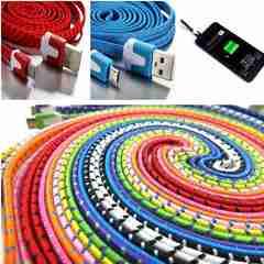 Micro USB フラットファブリックスリープ MicroUSBケーブル 1m