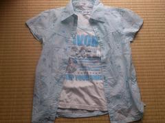 ランニングシャツ付★新品★ラメプリントシャツ 水色150