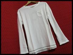 裾フリンジツイストスラブニットソー Tシャツ O/WH/M
