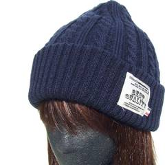 帽子♪ワッペン付き 縄編み ニット帽  ネイビー ワッチ