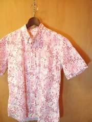 ボイコット赤ピンク系変形水玉柄半袖BDシャツM