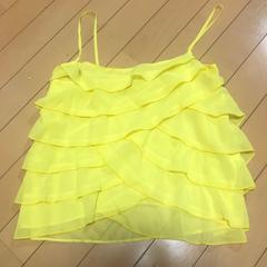 6段フリル シフォンキャミソール ◆ イエロー  黄色 M