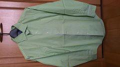 訳あり激安77%オフラルフローレン、長袖ストライプシャツ(美品、緑白、M)