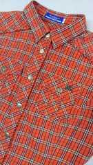バーバリーブルーレーベル美品ネルシャツ38オレンジ馬刺繍有