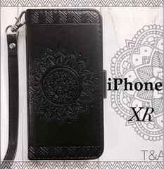 iPhoneXR 手帳型ケース エンボス型押し フィルム  ブラック