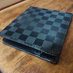 ブロックチェック柄 メンズ折り財布 ブラック