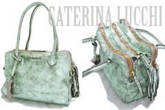 新品CATERINA LUCCHI伊製メタリックヴィンテージ調革バッグ緑
