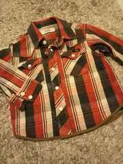 80★e.a.B 厚手デニム地系 ブルゾン 長袖シャツ ジャケット 赤