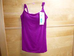 ユニクロブラトップmカップ付きキャミ新品エアリズム紫パープル
