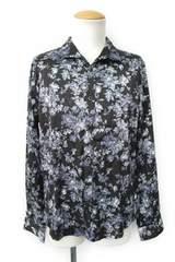 美品即決フーガFUGAジャガード花柄ドレスシャツ44ブラック
