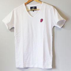ローリングストーンズ メンズ Tシャツ ホワイト Vネック/L