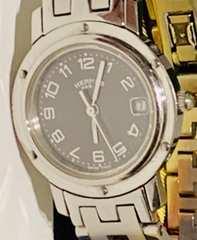 良品エルメスクリッパーレディース時計グレー文字盤CL4210電池新