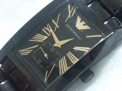 4919/エンポリオアルマーニ★AR-0682フルブラックCOLORスクエアケースメンズ腕時計