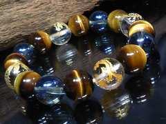 四神獣水晶青水晶タイガーアイ12ミリ数珠