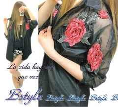 NEW最新エレガント上品ローズ刺繍デコルテ袖シースルー大人セレブシャツb4080