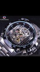 ☆高級時計☆ 機械式 スケルトン シルバーメンズ腕時計 希少!