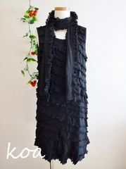 【新品】ストール付き☆シフォンプリーツワンピース《黒/LLサイズ》結婚式