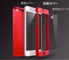 赤iPhone6/6splusケース 人気 全面保護 ガラスフィルム付き