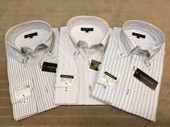 長袖ワイシャツ新品 ストライプ(E)3枚セット Lサイズ