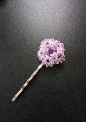 ハンドメイド*タティングレースの髪飾り【Y】薄紫ヘアピンtype.A
