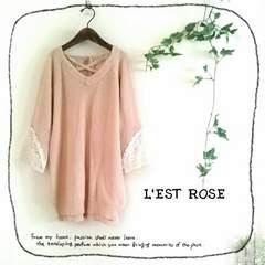 ((L'EST ROSE/レストローズ))上品レース袖♪編み上げリボンのスリット入ニット