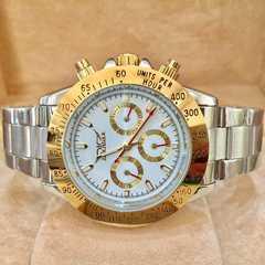 最安値!大特価!ロレックスデイトナタイプ 自動巻きクロノグラフ腕時計・金×白