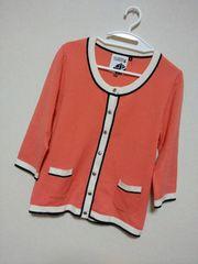 オレンジ×白紺バイカラー七分袖カーディガントップス 美品!