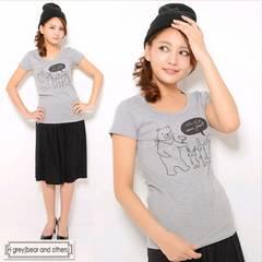 新品☆カジュアル♪くまプリント♪半袖Tシャツカットソー☆ブラック小さめL