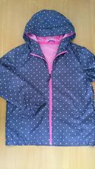 紫ピンク ドット柄パーカー シャカシャカ 美品L 裏メッシュ