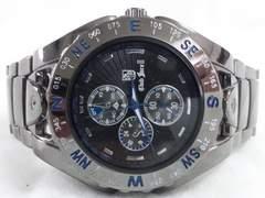 5712/クラブフィッチ2★超ビックラージケースフルブラックコーティングメンズ腕時計