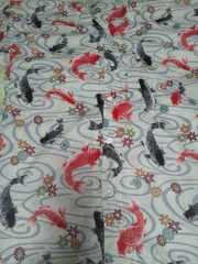 ☆新柄生成×流水に黒赤鯉柄ダボシャツ2L