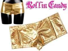 S7)メタリックインナーホットパンツゴールドダンサーダンス衣装チアガールショーツ下着見せパン
