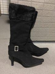 黒のファー付きロングブーツ◆Mサイズ