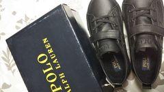 新品POLO ラルフローレン黒スニーカー黒靴入学式卒園式入園式16