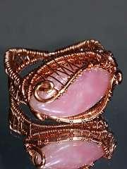 ★特別価格start★ワイヤアートリング#16★ピンクソープストーンマーキス型18�o珠★