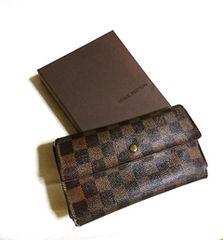 ルイヴィトン表参道店購入 ダミエ 長財布 三つ折り 付属 箱付き