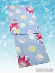 【和の志】女性用浴衣◇Fサイズ◇水色系・金魚・水玉◇563-5