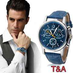 腕時計 時計 アナログ レザー 革ベルト ウォッチ ネイビー