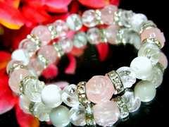 バラ彫ローズクォーツ10ミリ§ハウライト§スクリュー水晶8ミリ§銀ロンデル
