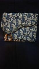 Christian Dior二つ折り財布チャーム付*トロッター柄ネイビー