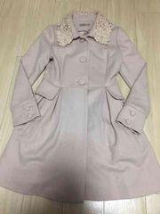 イギリスのインポートピンクレース襟Aラインお嬢様コートSサイズ