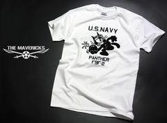 ミリタリーTシャツ S 米海軍 黒猫 PANTHER パンサー 白 新品