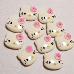 T ☆ 10コ ☆ お花 (薄ピンク) キティ フェイス ☆ 約2cm ☆ デコパーツ