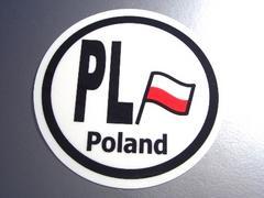 ○円形 ポーランド国旗ステッカービークルID国識別シール